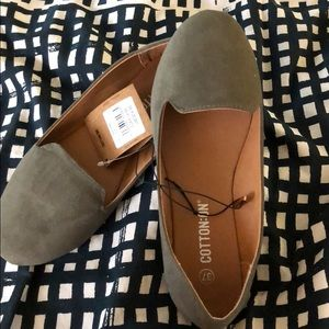 Grey suede flats. New size 37 or 6.5 or 7